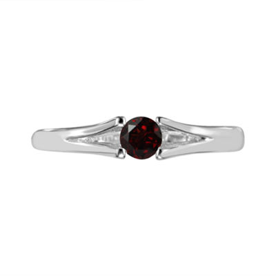 Womens Genuine Red Garnet Sterling Silver Solitaire Cocktail Ring