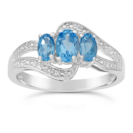 Womens Genuine Blue Topaz Sterling Silver 3-Stone Cocktail Ring