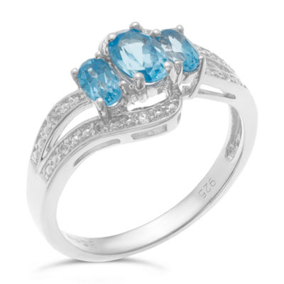 Womens Genuine Blue Topaz Sterling Silver 3-Stone Ring
