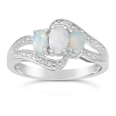 Womens White Opal Sterling Silver 3-Stone Ring