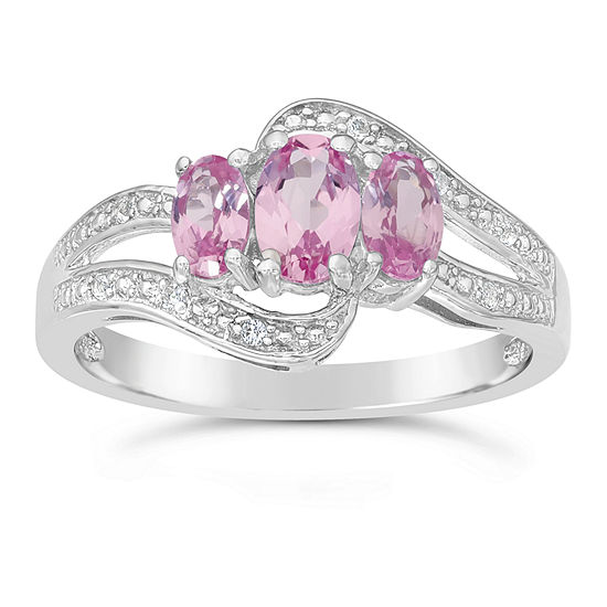 Womens Lab Created Pink Sapphire Sterling Silver 3-Stone Cocktail Ring