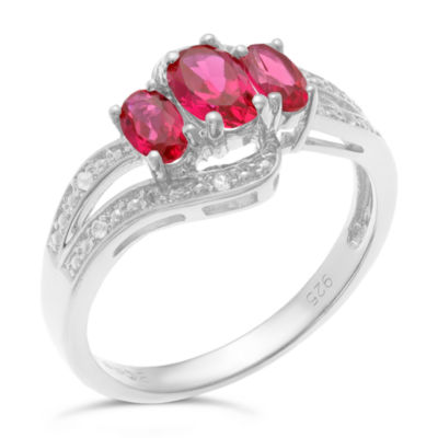 Womens Red Lab-Created Ruby Sterling Silver 3-Stone Ring