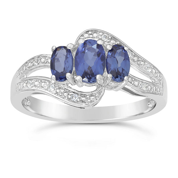 Womens Lab Created Blue Sapphire Sterling Silver 3-Stone Ring