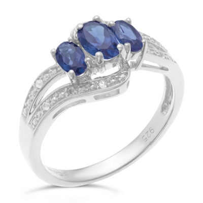 Womens Lab Created Blue Sapphire Sterling Silver 3-Stone Cocktail Ring