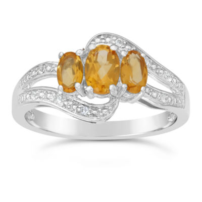 Genuine Citrine and White Topaz Sterling Silver 3-Stone Ring