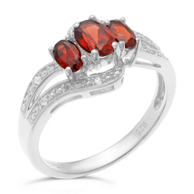 Genuine Garnet and White Topaz Sterling Silver 3-Stone Ring