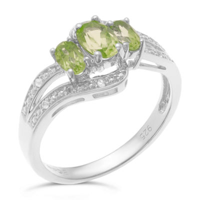 Genuine Peridot and White Topaz Sterling Silver 3-Stone Ring