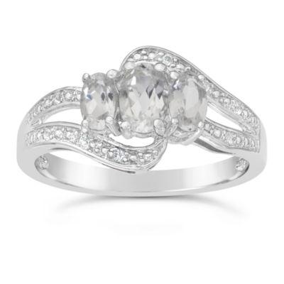Genuine White Topaz Sterling Silver 3-Stone Ring