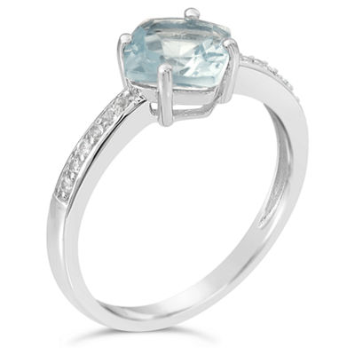 Womens Simulated Aquamarine Sterling Silver Halo Ring