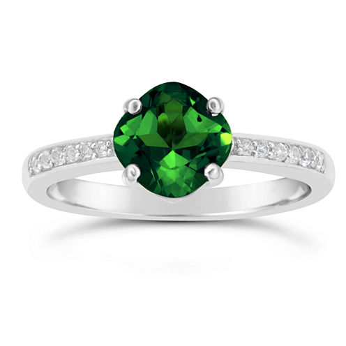 Womens Lab Created Emerald Sterling Silver Ring