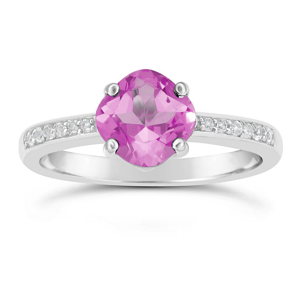 Womens Lab Created Pink Sapphire Sterling Silver Halo Ring