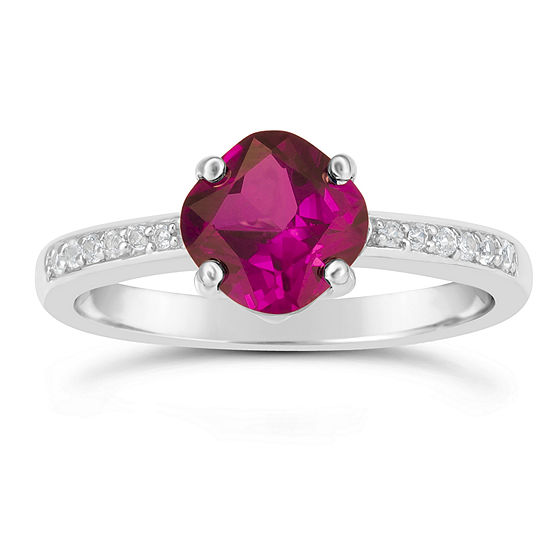 Womens Red Lab-Created Ruby Ring in Sterling Silver