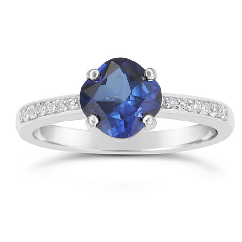 Womens Lab Created Blue Sapphire Sterling Silver Halo Ring