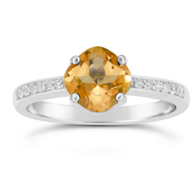 Genuine Citrine and White Topaz Sterling Silver Halo Ring