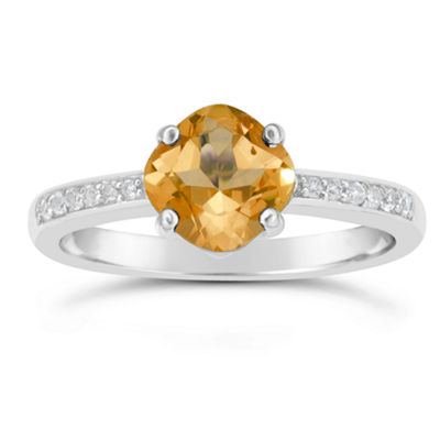 Genuine Citrine and White Topaz Sterling Silver Halo Ring