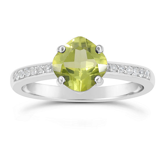 Genuine Peridot and White Topaz Sterling Silver Halo Ring