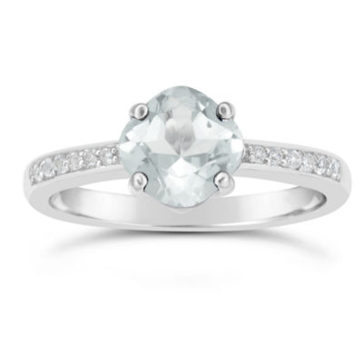 Genuine White Topaz Sterling Silver Halo Ring