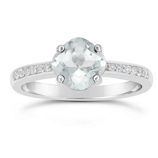 Genuine White Topaz Sterling Silver Halo Ring