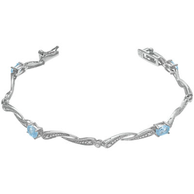 Womens Simulated Aquamarine Sterling Silver 7.25 in Link Bracelet