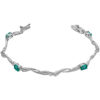 Womens 7.25 Inch Lab Created Emerald Sterling Silver Link Bracelet