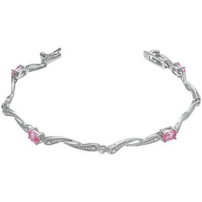 Womens 7.25 Inch Pink Sapphire Sterling Silver Link Bracelet