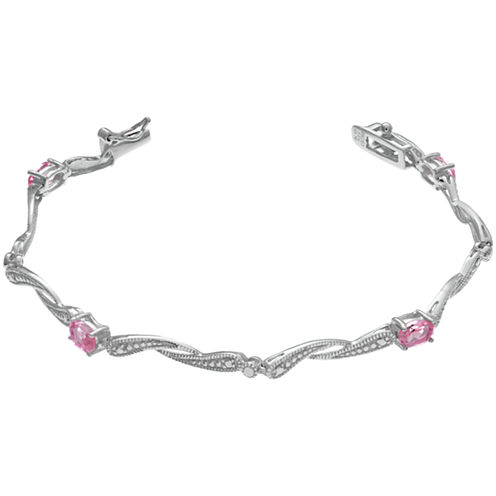 Womens 7.25 Inch Pink Sapphire Sterling Silver Link Bracelet