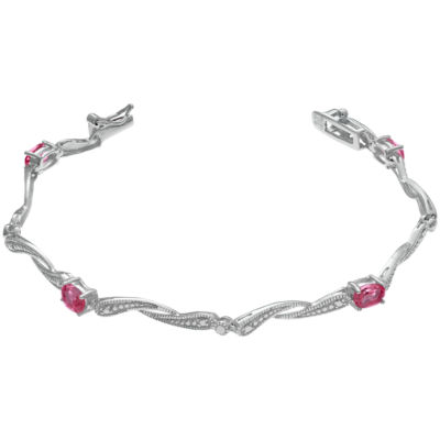 Lab-Created Red Ruby Link Bracelet