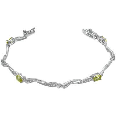 Womens 7.25 Inch Green Peridot Sterling Silver Link Bracelet