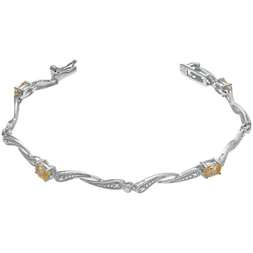Womens 7.25 Inch Yellow Citrine Sterling Silver Link Bracelet