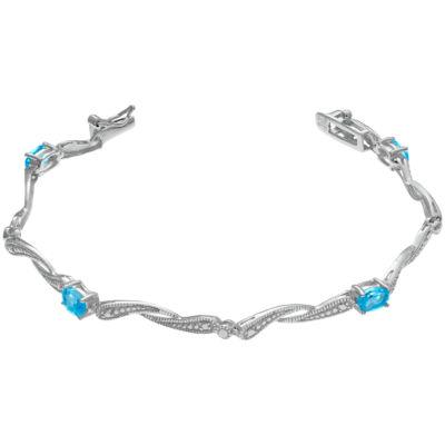 Womens 7.25 Inch Blue Blue Topaz Sterling Silver Link Bracelet