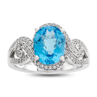 Womens Genuine Blue Blue Topaz Sterling Silver Cocktail Ring