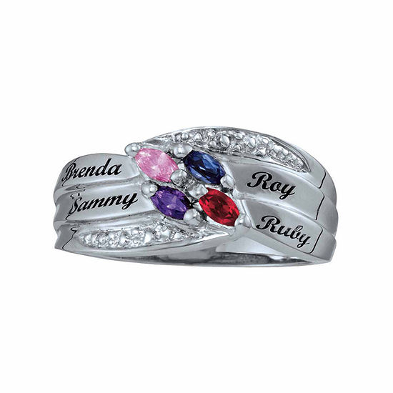 Personalized Family Simulated Birthstones Name Ring