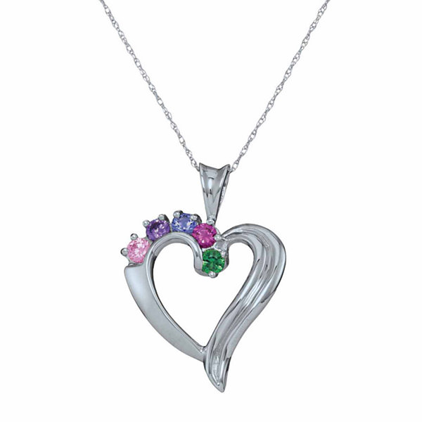 Personalized Simulated Birthstone Heart Pendant Necklace