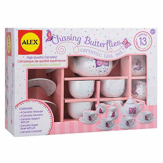 Alex Toys Chasing Butterflies Ceramic Tea Set 13-pc. Play Food