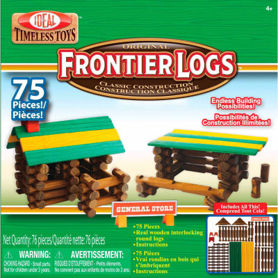 Ideal Frontier Logs Classic All Wood 75 Piece Discovery Toy