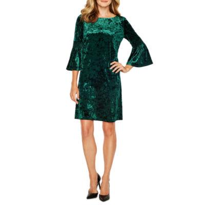 Danny & Nicole 3/4 Bell Sleeve Velvet Shift Dress