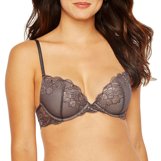 f12860cf656 Ambrielle Mystique Lace Accented Convertible Plunge Push Up Bra JCPenney