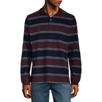 St. John's Bay Long Sleeve Stripe Jersey Polo Shirt