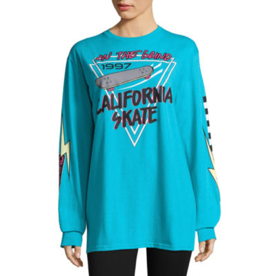 City Streets Long Sleeve Crew Neck Graphic T-Shirt-Juniors