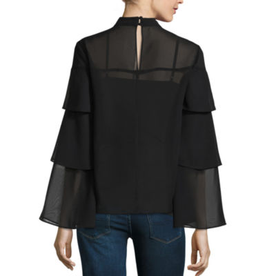 Belle + Sky Long Sleeve Triple Tiered Blouse