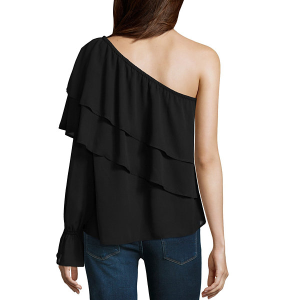 Belle + Sky Bell Sleeve One Shoulder Blouse