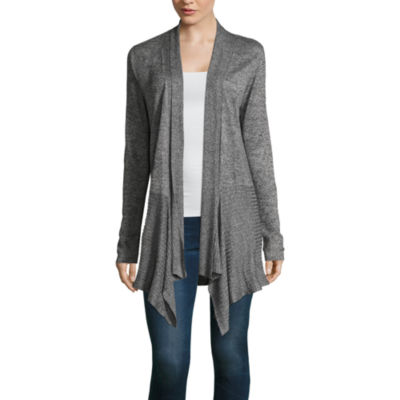 Alyx Womens Straight Neck Long Sleeve Open Front Cardigan