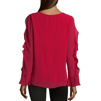 Alyx Long Sleeve Round Neck Chiffon Lace Blouse