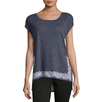 Liz Claiborne Short Sleeve Crew Neck Border T-Shirt-Womens