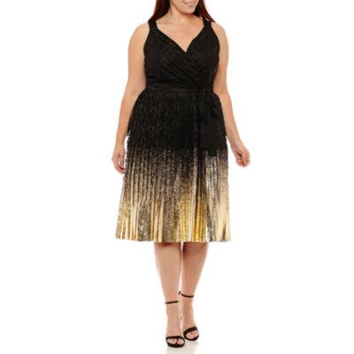Worthington Sleeveless Pleated Dress-Plus