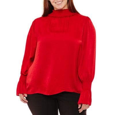 Worthington Long Sleeve Mock Neck Woven Blouse-Plus