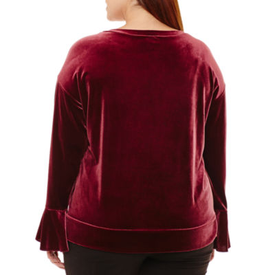 Worthington Long Bell Sleeve Velvet Sweatshirt-Plus