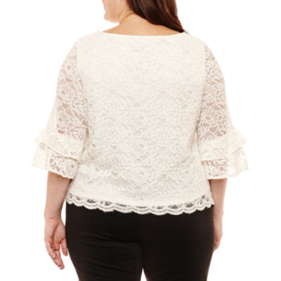 Liz Claiborne Scalloped Lace Top- Plus