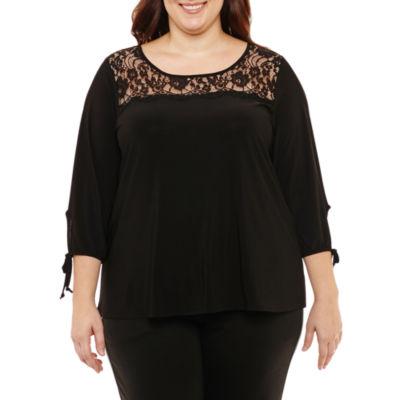 Liz Claiborne 3/4 Sleeve Lace Yoke Top- Plus