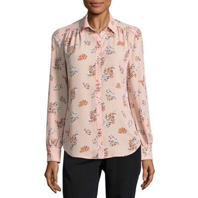 Worthington Long Sleeve Blouse-Talls